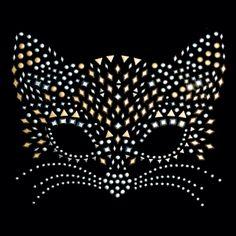 10x8 - CAT MASKESİ - kedi, kedi maskesi, maske, Rhinestuds, Çıtçıt, Materyal Transfer, Cats & Cat Eyes