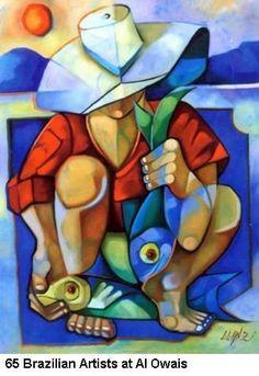 Alowais - 65 Brazilian Artists at A Owais Cubist Art, Abstract Art, Arte Pop, Fish Art, Art Oil, Figurative Art, American Art, Art Pictures, Pop Art