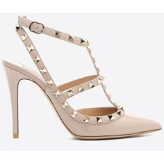 Valentino Garavani Rockstud Ankle Strap Pump (3.855 RON) ❤ liked on Polyvore featuring shoes, pumps, dove gray, high heel pumps, valentino pumps, leather sole shoes, studs shoes and studded pumps