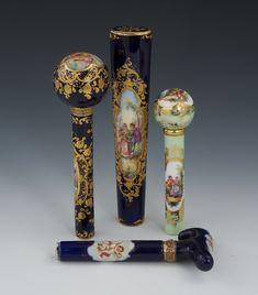 Four Sevres Style Porcelain Parasol Handles