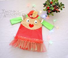 Dress for girls - children - baby Christmas Reindeer,  with application of the reindeer horns and ears 3D, long sleeves,  for Christmas, by MonikaMagdalenaHM on Etsy