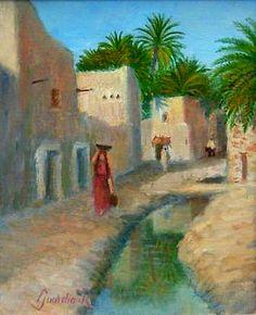 Algérie - Peintre Français, Roger Guardia ,né en Algérie près de Blida en 1933, Technique: Huile sur toile, Titre: Vieux Biskra