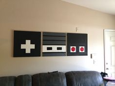 controller painting-make this except with Playstation buttons #mediaroomdecor