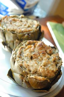 OK. So I'm not going to lie. These were a pain in the butt! Nothing to do with the recipe, but just the cleaning of artichokes. I complained the whole time, and at one point almost threw my artichokes in the garbage. But, these were really, really good! I am so glad I stuck with it. I need to read up on some artichoke cleaning tips before I attempt again. :-)