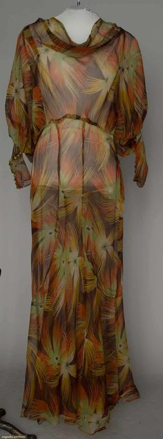 Augusta Auctions, March 21, 2012 NYC, Lot 335: Erte Dream-flower Print Dress, 1930s