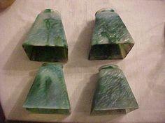 RARE Set of 4 Bournique Kokomo GREEN Slag Glass Arts Crafts Mission Lamp Shades