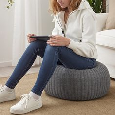 SANDARED pouffe, abu-abu | IKEA Indonesia Fabric Ottoman, Pouf Ottoman, Pouf Bleu, Record Player Stand, Ikea Stockholm, Socks Outfit, Ikea Home, Extra Seating, Dark Blue