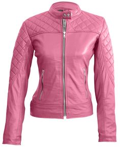 d87847df5d4b Leather Skin Women Pink Quilted Genuine Leather Jacket