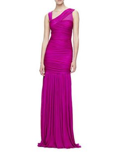 HALSTON HERITAGE Ruched Drop-Skirt Gown