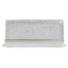 Jimmy Choo 'Milla' Glitter Wallet on a Chain ($725) ❤ liked on Polyvore featuring bags, wallets, champagne, chain bag, snap bag, snap wallet, glitter bag and chain strap bag