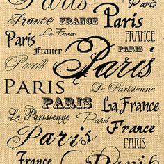 France Paris   burlap romantic large image vintage by JLeeloo2, $1.00