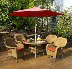 Lexington 5 Piece Wicker Furniture Dining Set
