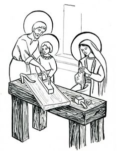 Holy Family Coloring Page Unique Holy Family Coloring Page La Sainte Famille Catholic Crafts, Catholic Kids, Catholic Saints, St Joseph Patron Saint, Feast Of St Joseph, Bee Coloring Pages, Family Coloring Pages, Religion Activities, Elephant Coloring Page