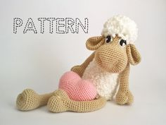 Amigurumi Easter Sheep PATTERN and Valentines Special Gift, 3D Heart PATTERN. This is a DOWNLOADABLE TUTORIAL. 9 pages, more than 40 pictures!!!  Sheep size if you use the same materials as I did is around 42 cm.  SUPPLIES:  Acrylic yarn: 100g/240m Colors: light pink or blue, white and black (I am using Tren, Super Suave yarn ) Hook size 2.5 mm or 3 mm (if your stitches are tight use 3mm hook)   The tutorial is very detailed and includes more than 40 pictures. If you have any problems fo...