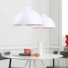 BAYTTER® Design 2x Industrielle Vintage LED Pendelleuchte Hängeleuchte Φ 30cm für E27 Leuchtmittel, schwarz und weiß wählbar, für Wohnzimmer Esszimmer Restaurant Keller Untergeschoss usw. (weiß): Amazon.de: Beleuchtung