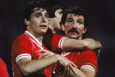 An poster sized print, approx mm) (other products available) - Liverpool& Michael Robinson, Alan Hansen and Graeme Souness celebrate - Image supplied by PA Images - poster sized print mm) made in the UK Graeme Souness, Michael Robinson, Fine Art Prints, Canvas Prints, Charming Man, National Photography, Liverpool Fc, Poster Size Prints, Soccer