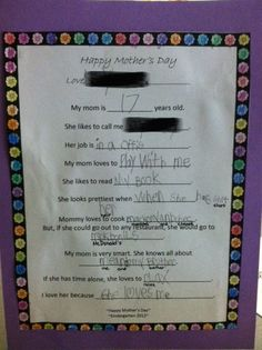 cute mother's day questionnaire I use in my Kindergarten classroom. FREE printout for you to use