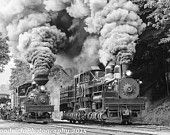 Cass Wva Railroad, photo of Shay steam engines. Black and white photography