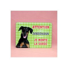 Plaque de race en métal, dobermann.  Dimension: 15cm x 21cm