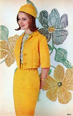 Spring 1963 vintage fashion style color photo print ad model magazine 60s yellow suit dress jacket skirt top blouse hat bright