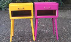 bedside tables pair magenta/yellow