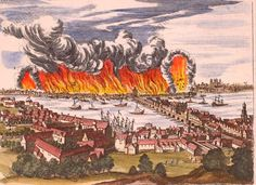A view of London from Southwark during the fire of 1666 by Jan Luyken (1649–1712).