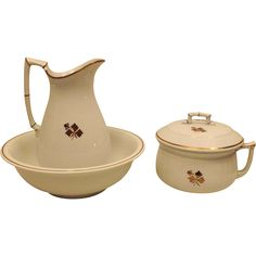 1880s Antique Alfred Meakin Wash Bowl Pitcher and Chamber Pot Set  Tea Leaf