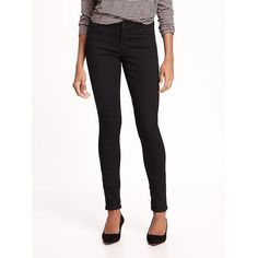 Old Navy Womens Low Rise Rockstar Jeans ($29) ❤ liked on Polyvore featuring jeans, black, petite, zipper skinny jeans, tall jeggings, old navy jeggings, low rise skinny jeans and stretch skinny jeans