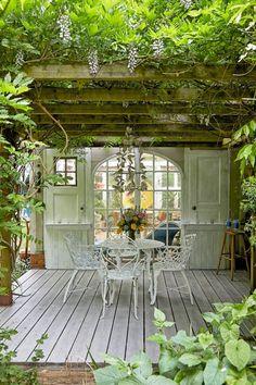 Backyard Patio, Backyard Landscaping, Patio Stone, Flagstone Patio, Concrete Patio, Patio Table, Deck Pergola, Rustic Pergola, Pergola Kits