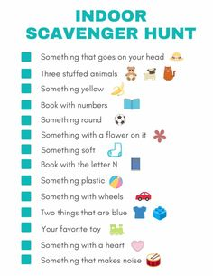 Indoor Scavenger Hunt for Kids Free Printable With kids home from school, you might be scrambling for ideas on things you can do to keep their time occupied. A indoor scavenger hunt is a fun Indoor Activities For Kids, Learning Activities, Preschool Activities, Summer Activities, Kids Printable Activities, Educational Activities For Kids, Educational Websites, Indoor Games, Preschool Learning