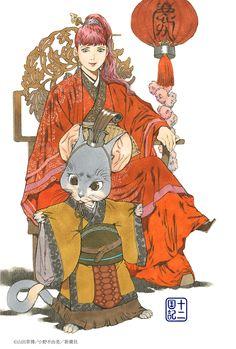 陽子 Youko、楽俊 rakushun:十二国記 Juuni Kokki/Twelve Kingdoms - art by Yamada Akihiro 山田章博