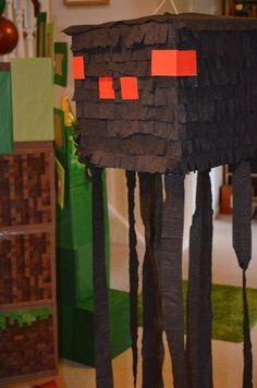 Our minecraft party - spider piñata
