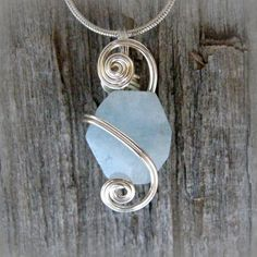 Wire Wrapped Pendant; Blue and Green Wire Wrapped Swarovski ...