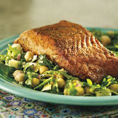 Coriander-Crusted Fish With Chickpea Artichoke Salad