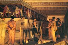 Lawrence Alma Tadema, Phidias Showing the Frieze of the Parthenon to his Friends, olieverf op doek, 72 x cm, Birmingham Museum and Art Gallery Lawrence Alma Tadema, Parthenon Athens, Acropolis Greece, Athens Greece, Elgin Marbles, Reine Victoria, Birmingham Museum, Art History, Athens