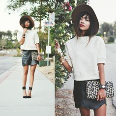 Ost Mini Skirt, H&M Leopard Clutch, Zara Sleeve Jumper, Keira Panama Hat, Zara Pointed Heels Street Chic, Street Style, Leopard Clutch, What Should I Wear, Pointed Heels, Outfits With Hats, Autumn Winter Fashion, Summer Outfits, Mini Skirts