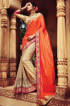 Orange And Beige Embroidery Thread Work Moti Work Raw Silk Net Bridal Sarees. Buy Online Shopping Sarees At -UK Lehenga Style Saree, Net Saree, Bridal Lehenga, Saree Wedding, Indian Designer Sarees, Latest Designer Sarees, Indian Sarees, Eid Dresses, Indian Dresses