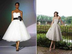 Blue Tea Length Wedding Dress