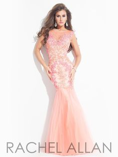 Coral/Watermelon Rachel Allan Prom 6910 Rachel ALLAN Long Prom 💟$432.98 from http://www.www.optbeads.com   #weddingdress #coral/watermelon #prom #mywedding #wedding #rachel #bridalgown #long #bridal #allan