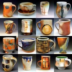 Soda-Fired cups - mmmmm!  I love the different lines and placement of handles.