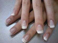 Delicate French Manicure with Flower and Crystals  - Krassy French manicure for the bride.jpg