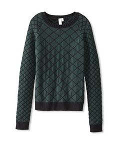 Shae Women's Quilt Design Sweater (Forest Combo)