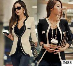 blazer terno terninho feminino formal preto branco importado