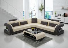Lacus Modern Leather Sectional – Jubilee Furniture Sofa Set Designs, L Shaped Sofa Designs, Modern Sofa Designs, Classy Living Room, Living Room Sets, Living Room Modern, Lounge Design, Sofa Furniture, Living Room Furniture