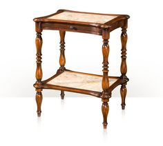 A hand carved and marble inset serpentine two tier lamp table, marble slide and undertier, turned legs. The original Napoleon III.