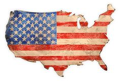 Vintage retro rustic chic farmhouse USA flag map cutout wall art