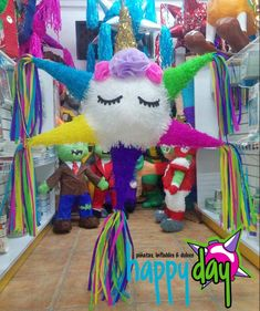 Piñata Unicornio  (estrella). 1st Birthday Girls, Unicorn Birthday Parties, Indian Party Themes, Aaliyah Birthday, Unicorn Pinata, Girl Birthday Decorations, Happy Birthday Jesus, Unicorn Crafts, Fiesta Party