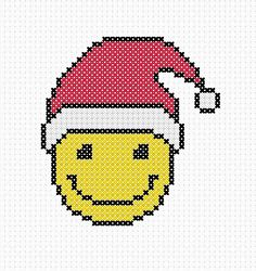 Cross Stitch Embroidery, Cross Stitch Patterns, Cross Stitch Christmas Cards, Pixel Pattern, Christmas Hat, Christmas Patterns, Cool Patterns, School Projects, Smiley