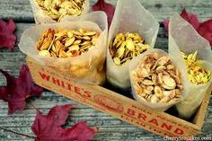 Pumpkin Seeds 5 Ways! For anyone carving a pumpkin this weekend here are five creative ways to roast your pumpkin seeds: season salt, curry, paprika, Maryland style, and sugar 'n' spice! Courtesy of Cherry Tea Cakes EST. Fall Recipes, Holiday Recipes, Ww Recipes, Baby Dekor, Roasted Pumpkin Seeds, Roast Pumpkin, Baked Pumpkin, Pumpkin Seed Recipes, Pumpkin Ideas