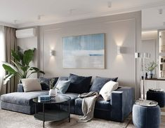 ⬅️➡️ Молдинги на стенах, не значит — классический интерьер! ______________________________________________________ Спальня из проекта… Minimalism, House Design, Couch, Throw Pillows, Living Room, Interior Design, Bed, Furniture, Wall Panelling